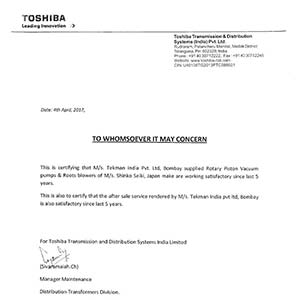 Performance Certificate - Toshiba