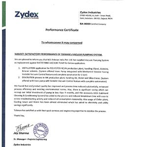 Performance Certificate - Zydex Industries